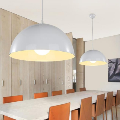 Multicolor Modern Restaurant Living Room 1 Light Pendant Lamp with Dome Shade Various Inches for Option, HL477739, Black;blue;green;red;white;yellow