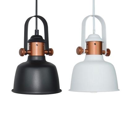 Satin Black/White Finish One Bulb Copper Pendant Lamp in Simple Style