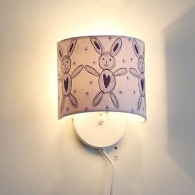 Adorable Paper Shade Wall Sconce with Bunny Pattern White Finish 1 Head Wall Mount Light for Girls Room