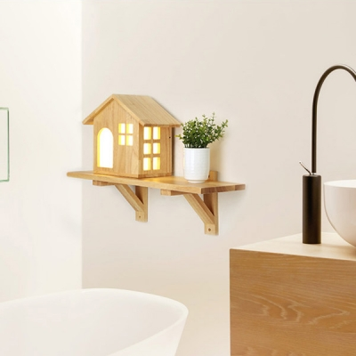 Wood Mini Wall Lamp in House Shape for Stairway