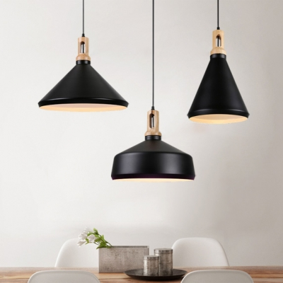 Contemporary Nordic Style White/Black Dining Room Hanging Lighting with Wood Grain Finish 3 Designs for Choice