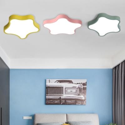 Macaron Nordic Star Ceiling Lamp Baby Children Metal Ceiling Flush Mount in Green/Pink/Yellow