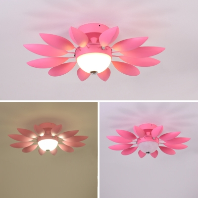 Glass Flower Ceiling Fixture Colorful Macaron Kids Youth Bedroom 1 Light Decorative Semi Flush