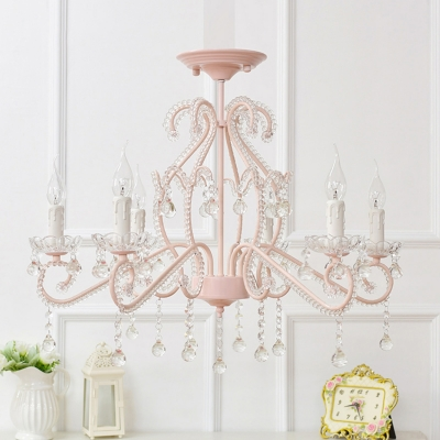 Girls Crystal Chandelier Pink/White Modern Chandelier Candle Chandelir with Crystal Balls