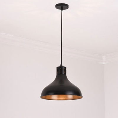 Industrial Style One Bulb Office Hanging Lamp in Polished Black Finish