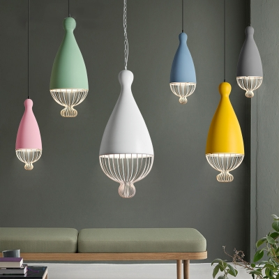 Multiple Colors Teardrop Shade Dining Room Single Pendant with Wire Cage