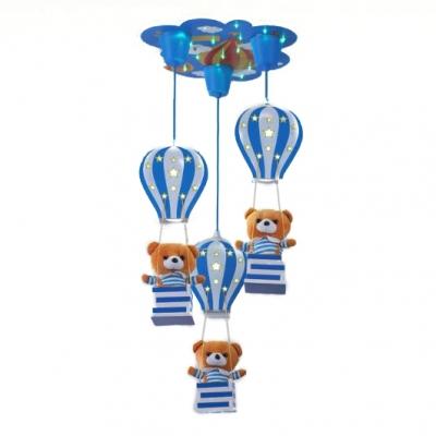 Adorable Bear 3 Lights Suspended Light Blue/Pink Wooden Ceiling Pendant Lamp for Baby Kids Room