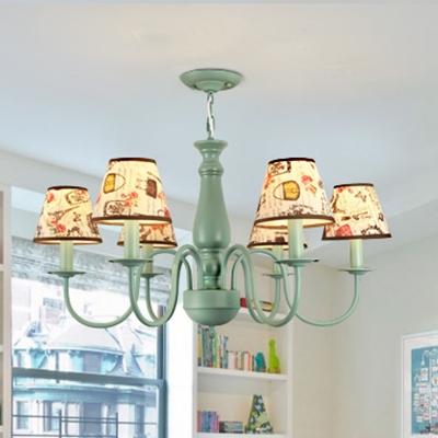 Green/Pink Coolie Suspension Light American Retro Plastic 3/6 Lights Lighting Fixture for Kids