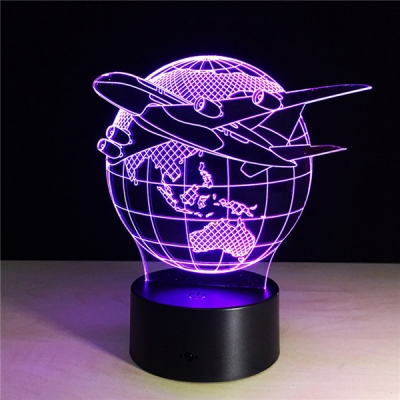 Touch/Remote Color Changing Globe and Airplane 3D Night Light for Boys