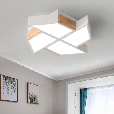 Acrylic Ceiling Lamp with Windmill Contemporary Macaron LED Flush Mount for Children Room