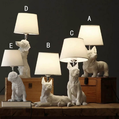 Dog White Table Lamp for Kids Bedroom with Linen Shade ...