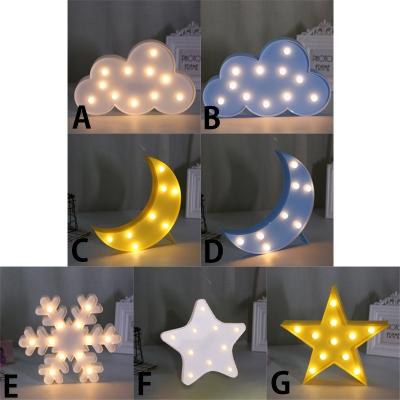 Plastic Cloud/Moon/Snowflake/Star Shape  Girls Bedroom Night Light 5 Types for Option