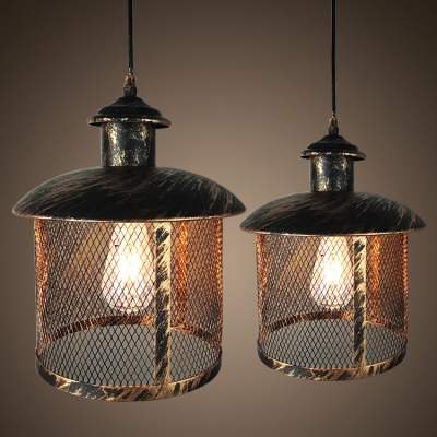 Aged Bronze Vintage Style Cylindrical Wire Mesh Cage Frame Hanging Lantern