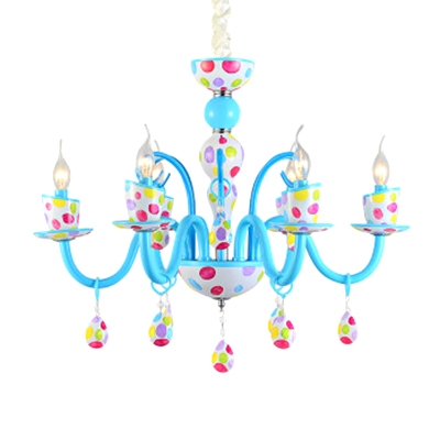 Art Deco Chandelier Candle Style Small Chandelier Spot Chandelier in Blue Finish
