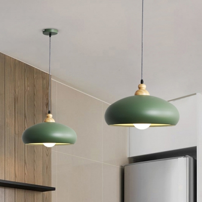 Coffee Shop One Bulb Wooden Hanging Light with Forest Green/Grey/Pink Iron Shade