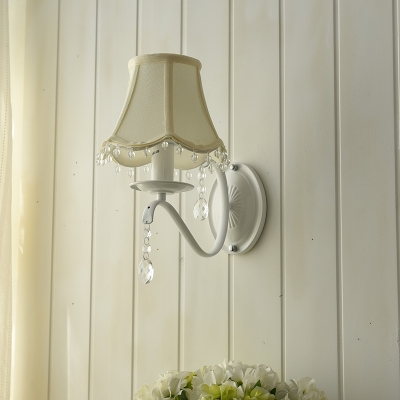 French Country 1 Light Shaded Wall Light Crystal Balls Wall Lamp in White Finish