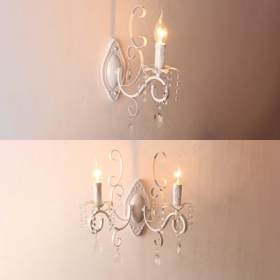 French Country Wall Light Entryway Sconce Candle Style Crystal Wall Lamp  For Indoor