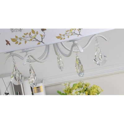 White Finish Drum Suspension Light with Crystal Fabric Shade 3/5 Bulbs Hanging Light for Kindergarten