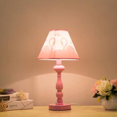 Lovely Swan Pattern Desk Lamp Modernism Girls Bedroom Metallic 1 Bulb Reading Light in Pink