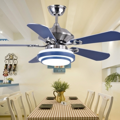 Mediterranean Style 5 Blade 16.54''  Width Chandelier Ceiling Fan for Living Room in Stainless Steel