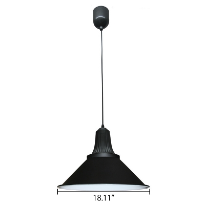 Simple Style One Light Hanging Pendant Lamp in Satin Black Finish 6 Sizes for Option