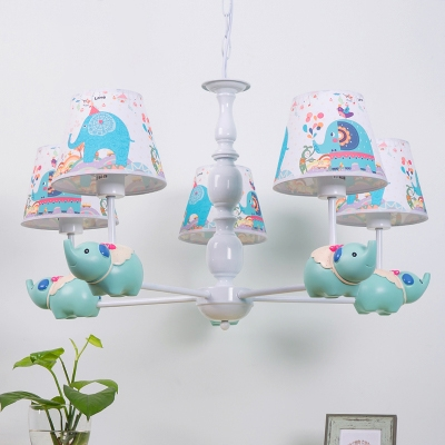 White Finish Shaded Chandelier with Elephant Metal 3/5 Bulbs Suspended Lamp for Nursing Room
