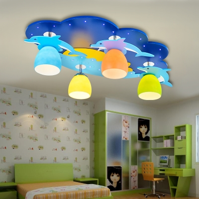 Cute Dolphin/Moon Ceiling Lamp with Glass Shade Children Room 4 Lights Flush Light in Blue