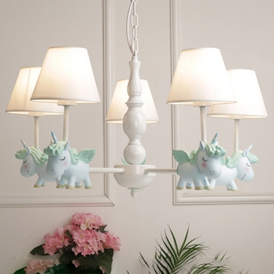 Fabric Shade Suspended Light with Blue/Pink Rocking Horse 3/5 Lights Hanging Lamp for Children