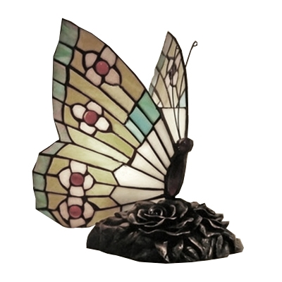 Accent Table Lamp with Vital and Colorful Butterfly Flapping Wings