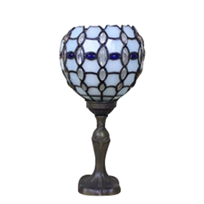 Brilliant Beads Accent Torchiere Table Lamp with Tiffany Stained Glass Bowl Shade