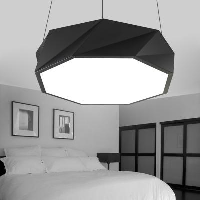 Cord Adjustable Modern Lighting LED Geometric Acrylic Chandelier in Black/White 15.75