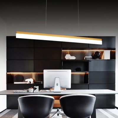 Modern Art Decorative 30W Led Office Dining Room Island Lighting Brass Finish Super Slim Linear Led Pendant Acrylic Cord Adjustable Led Lights