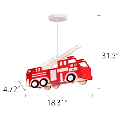 Red Fire Engine Shade Lighting Fixture Trains&Cars Metal 1 Light Pendant Lamp for Boys Bedroom