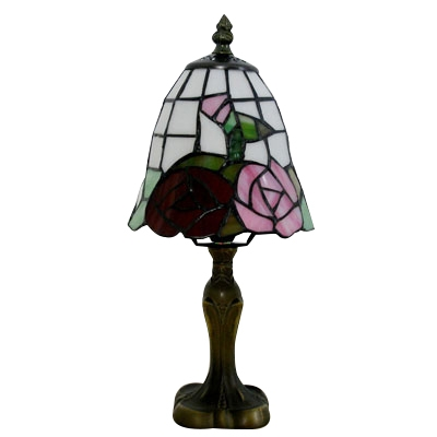 Tiffany Style Mini Table Lamp Featuring Flower Patterned Glass Shade with Bronze Base