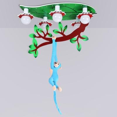 Lovely Blue Monkey LED Flush Light Animals&Insects 5 Lights Ceiling Light for Kindergarten Game Room