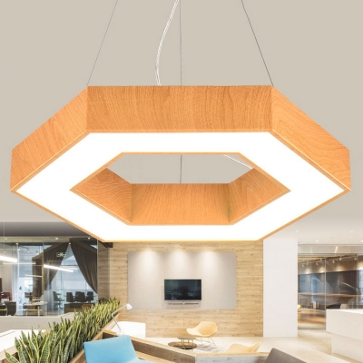 Modern Decorative Led Chandelier Hexagon Shaped Down Lighting Led Pendant Fixture Metal High Performance 24W/48W,  Light Adjustable Geometrical Led Lamp in Wood Grain for Office Study Room Foyer Gallery