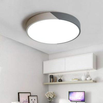 Post-Modern Creative Design Led Surface-Mount Lighting Multicolor Metal Round Ceiling Light 10/16/22W LED Halo Flush Ceiling Light Suitable for Studio Clothing Store Office Conference Room Low Profile Lighting