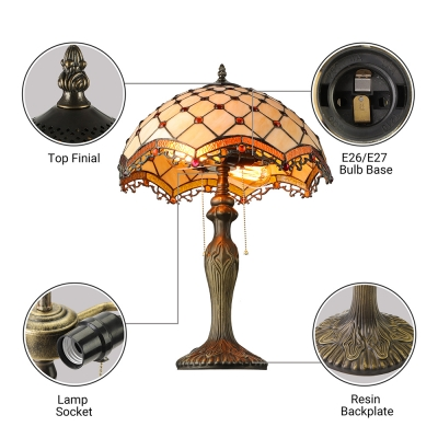 Tiffany Style Vintage Table Lamp with Dome Glass Shade in White with Amber Beads Accent