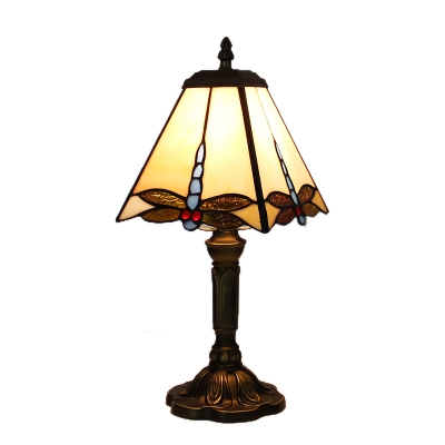 Dragonfly Motif Square Tiffany Glass Shade Table Lamp With