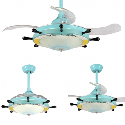 Light Blue Finish Frosted Glass Shade Ceiling Fan in Nautical Style for Bedroom 36