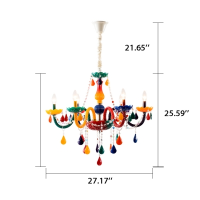 Multicolored 6-Bulb Chandelier in Crystal Accent Style for Kids Bedroom with Adjustable Chain