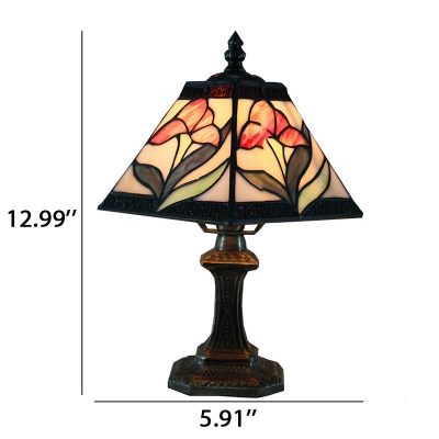Pink Flower Tiffany Pyramid Shaped Shade 6''W Desk Light with Metal Base