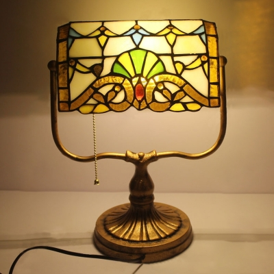 Tiffany Style Bank Lamp 1 Light Table Lamp with Multicolored Glass Shade