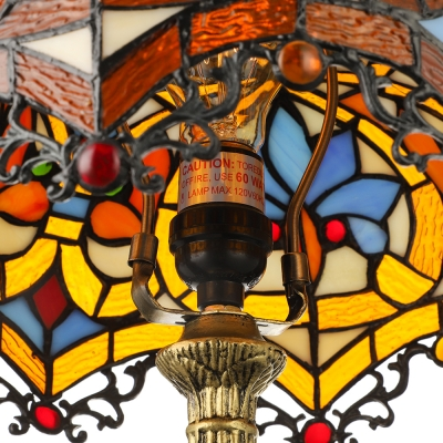 Victorian Tiffany Dome Shaped Table Lamp Stained Glass 19