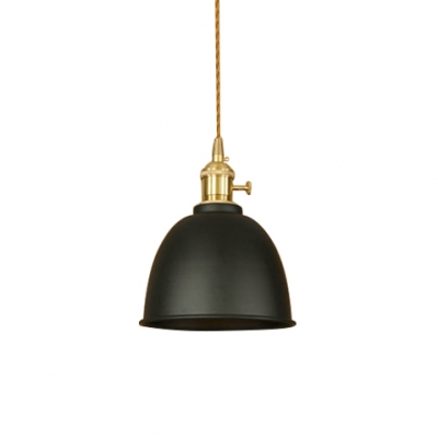 1 Light Coffee House Hallway Hanging Lamp with Metal Dome Shade in Various Colors