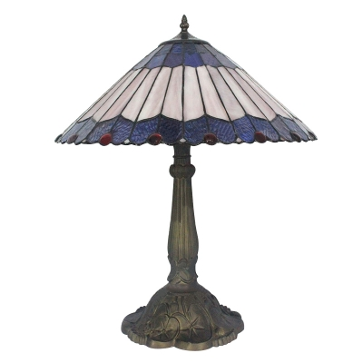 Conical Shade Tiffany Stained Glass Table Lamp with Beads Around 2 Designs for Choice