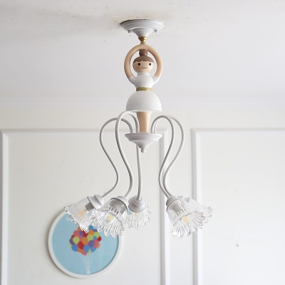 Ballerina 5 Lights Semi Flush Mount Decorative White Finish Glass Shade Semi Flush Light for Girls Bedroom