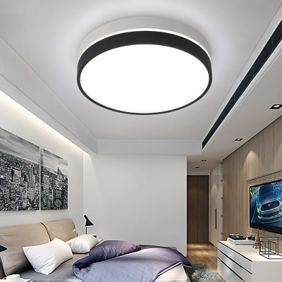 Contemporary Black and White Finish Metal Led Ceiling Mount Lighting