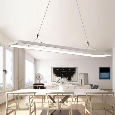 LED Direct Indirect Lighting Hallow Rectangle Led Pendant Lighting White  33W/46W, 3000K/