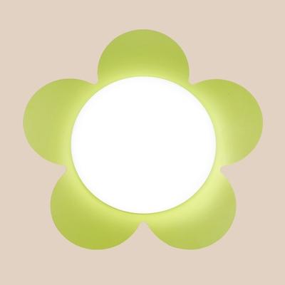 Cartoon Flower Shape Wall Lamp Girls Room Acrylic 1 Light Sconce Light in Blue/Green/Pink/Yellow/Red